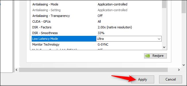 Активация режима сверхнизкой задержки в графических драйверах NVIDIA GeForce