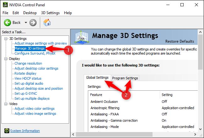 Управление настройками 3D в Панели управления NVIDIA