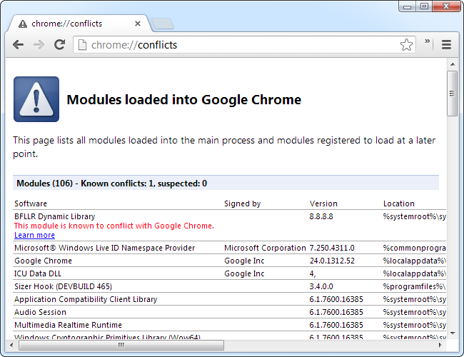 chrome conflicts