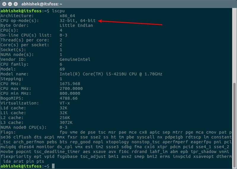 averiguar si ubuntu es de 32 bits o 64 bits