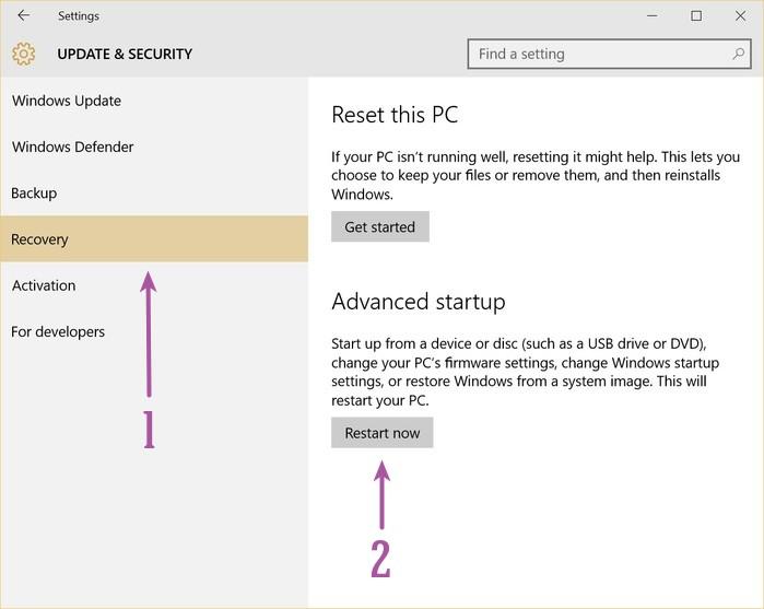 Reiniciar en la configuración de UEFI en Windows 10