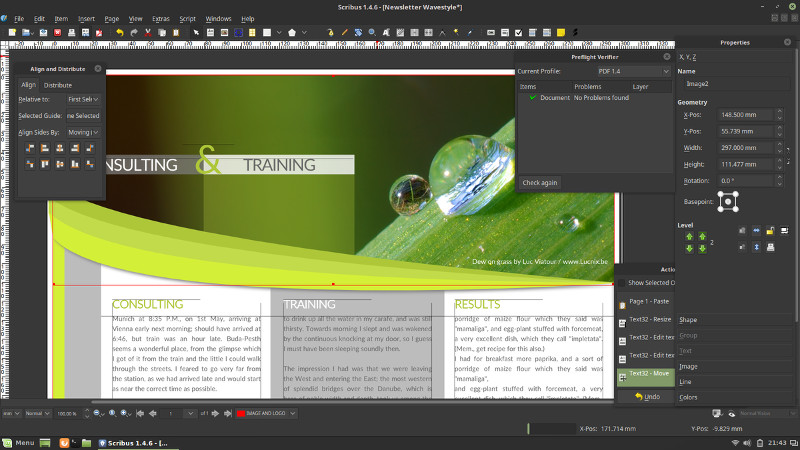 Scribus es una alternativa a Adobe Indesign en Linux