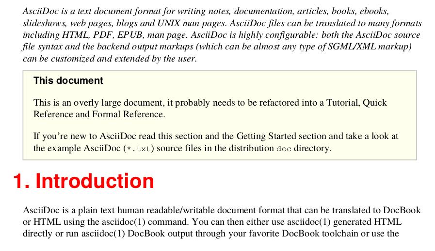 Salida de PDF AsciiDoc generada desde Apache FOP utilizando un XSLT personalizado para mostrar el primer párrafo en cursiva y los encabezados de sección en color