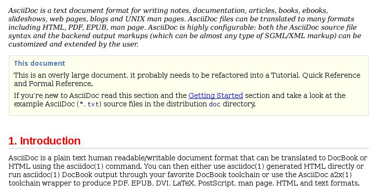 Salida HTML de AsciiDoc con CSS personalizado para mostrar el primer párrafo en cursiva y los encabezados de sección en color