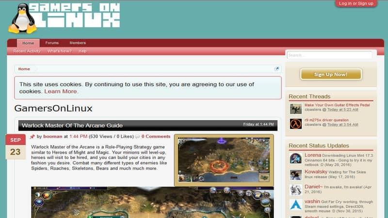 Linuxウェブサイトのゲーマー