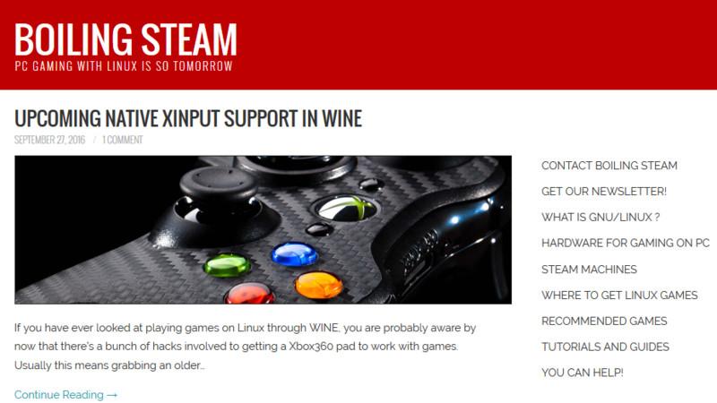 沸騰するSteam LinuxゲームのWebサイト