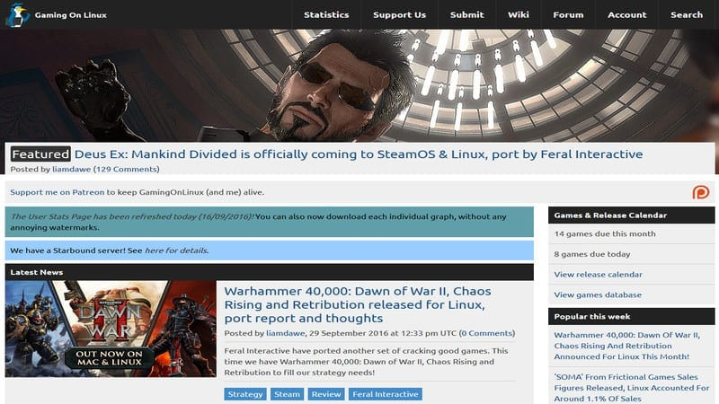 Linux Webサイトでのゲーム