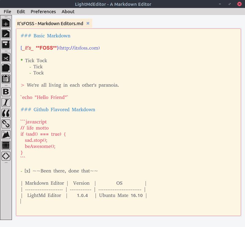 Interfaz del editor LightMd