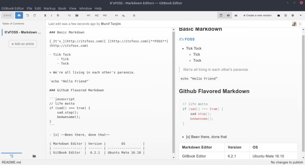 Interfaz del editor de GitBook