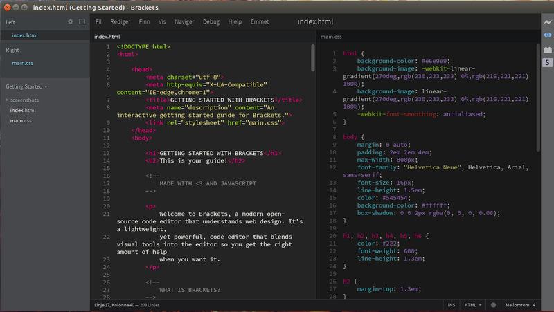 Brackets es uno de los mejores editores de código fuente abierto