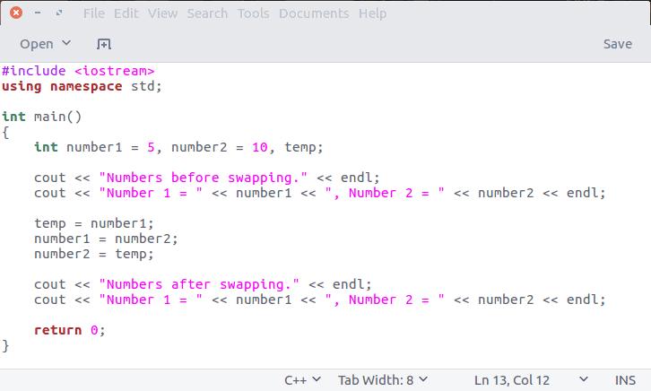 Ejemplo de programa C ++ en Ubuntu Linux