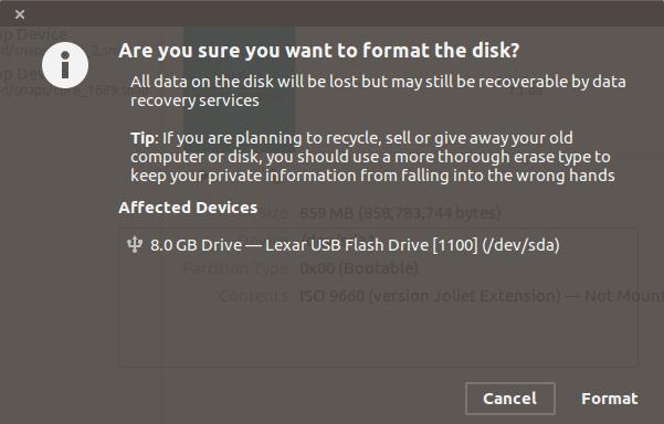 No se puede formatear el stick de instalación de Ubuntu