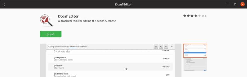 editor dconf en el centro de software de Ubuntu