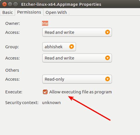 Сделайте программу исполняемой в Ubuntu