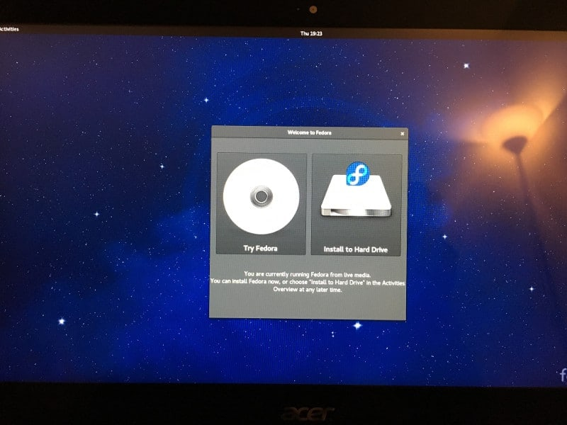 Fedora 24 живая сессия