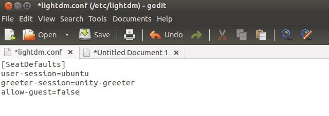 在Ubuntu 13.04中禁用访客会话帐户