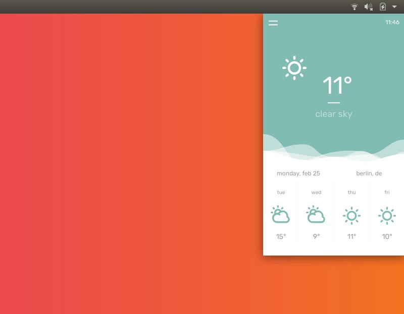 IU de la aplicación Temps Weather