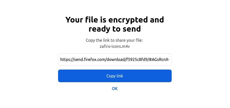 Enlace para compartir de Firefox Send