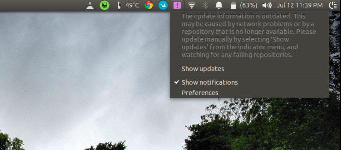 La información de actualización está desactualizada en Ubuntu