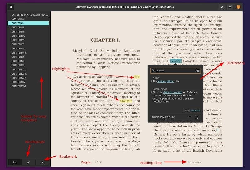 Características del visor de libros electrónicos Foliate