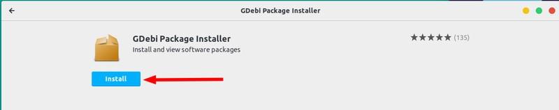 Instalar Gdebi desde el Centro de software