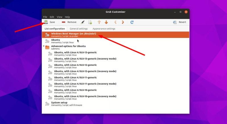 Haga la opción predeterminada de Windows en Grub en modo de arranque dual