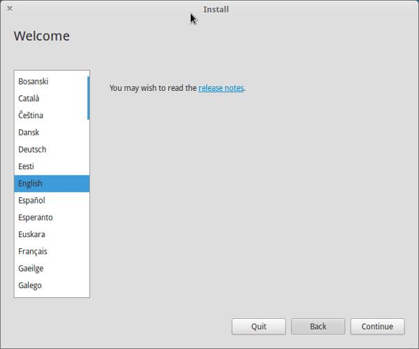 Elija el idioma en la instalación de Elementray OS Luna