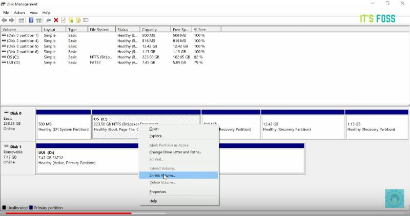 Crear partición de disco para arranque dual Linux Mint y Windows 10