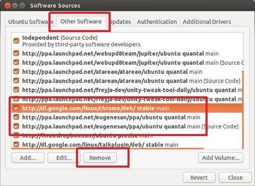 Eliminar un PPA de la fuente del software