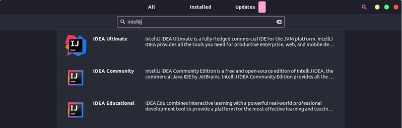 IntelliJ IDEAのインストールは、ソフトウェアセンター経由でUbuntuで利用できます。