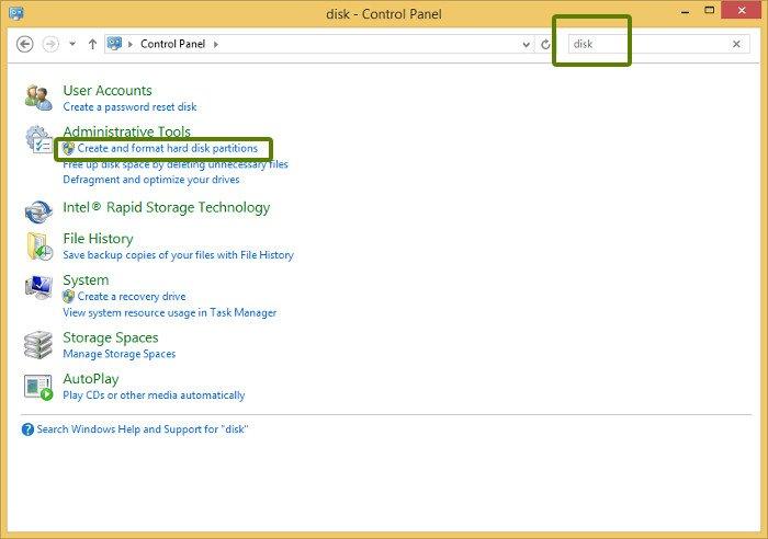 herramienta de administración de disco windows 8