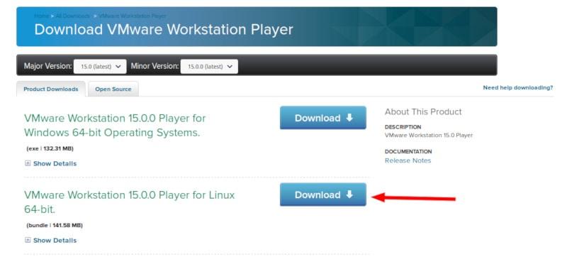 Descargando VMware Workstation Player para Linux
