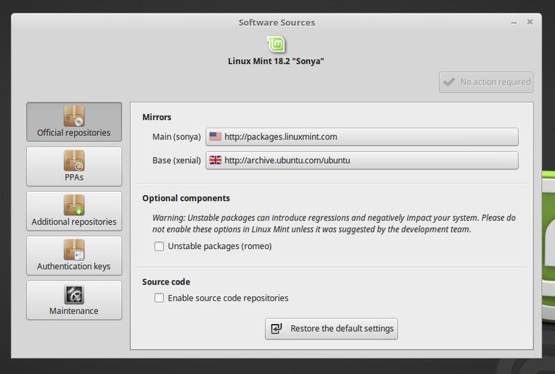 Fuentes de software en Linux Mint