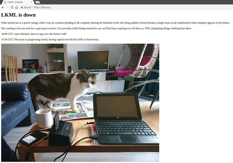 Linuxカー�ルメーリングリスト�Webサイト�ダウン�る