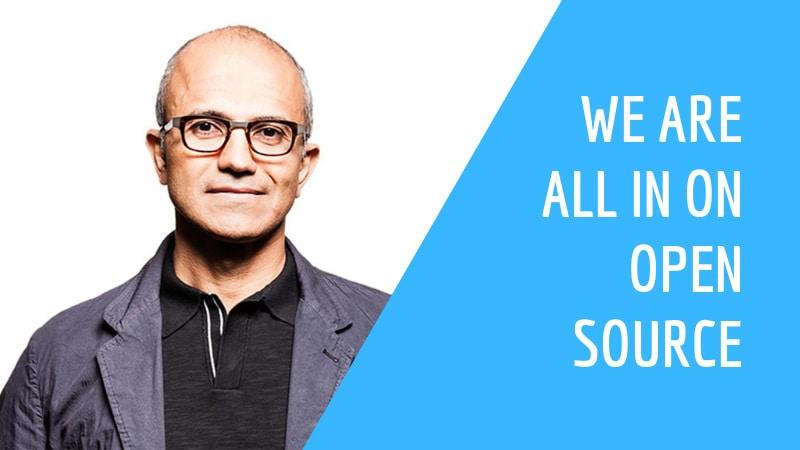 Cita del CEO de Microsoft, Satya Nadella, en código abierto