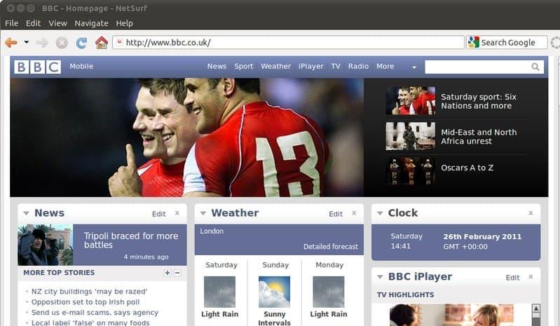 NetSurf Open Source Browser para Linux