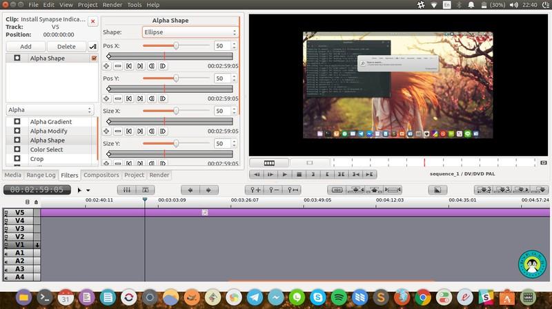 Редактор фильмов Flowblade на Ubuntu