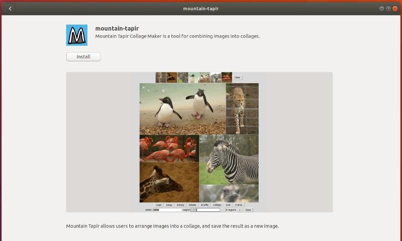 Создатель коллажей Mountain Tapir в Ubuntu и других дистрибутивах Linux