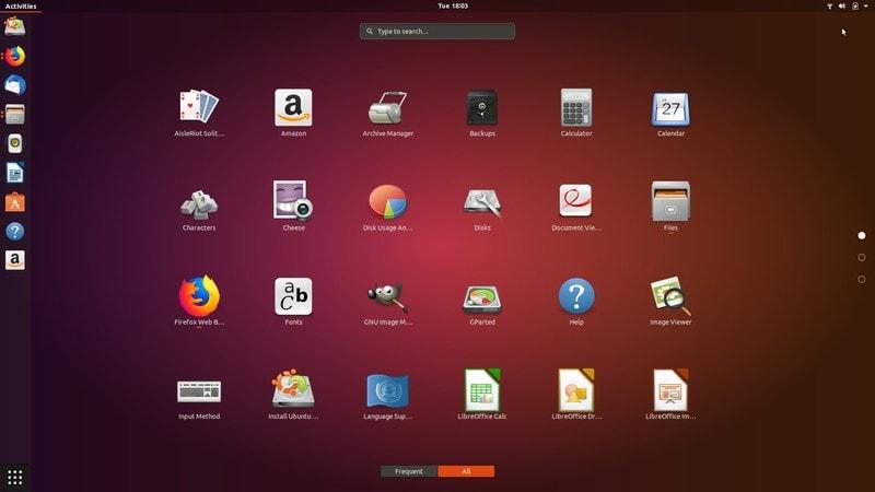 Menú de aplicaciones Ubuntu 18.04