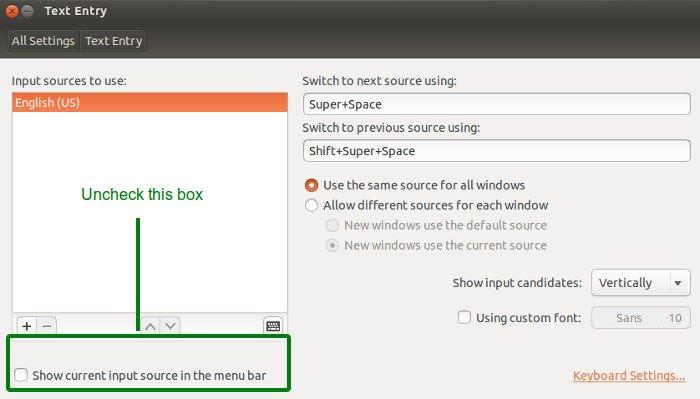 Ubuntu 13.10でキーボードアプレットインジケーターを無効にする