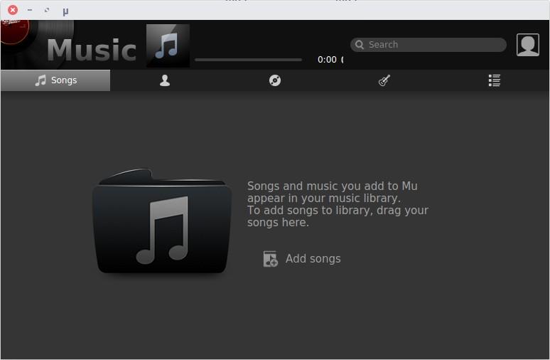 Interfaz de reproductor de música Mu