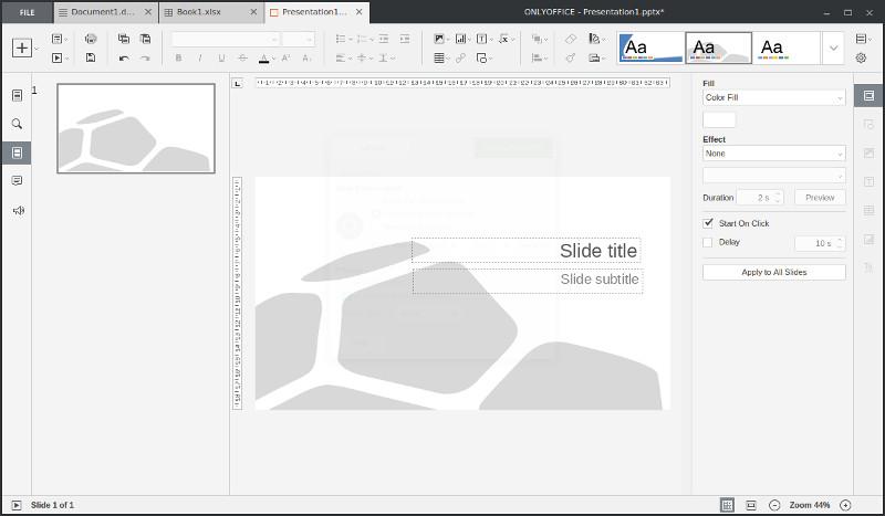 OnlyOfficeのPowerPointスライド