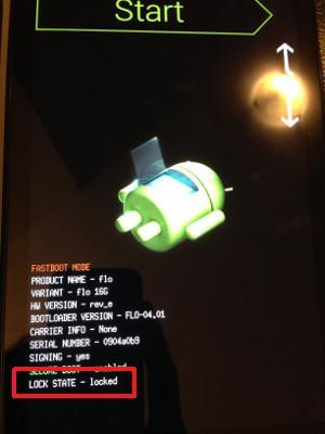 Nexus 7 2013ブートローダーのロックを解除する