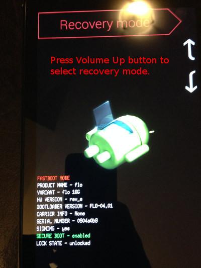 LinuxでNexus 7 2013をルートするFlash TWRPリカバリモード