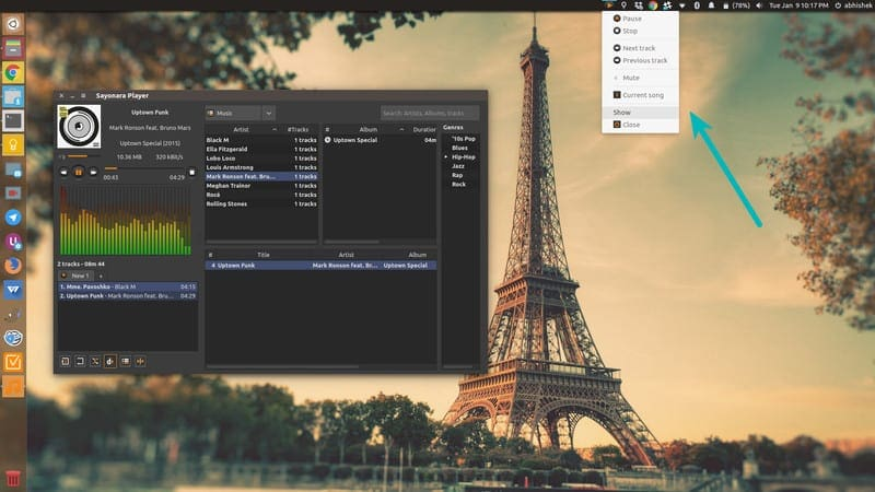 Sayonara reproductor de música para Linux