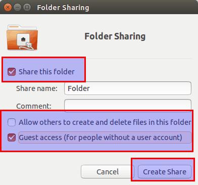 делиться папками в Ubuntu