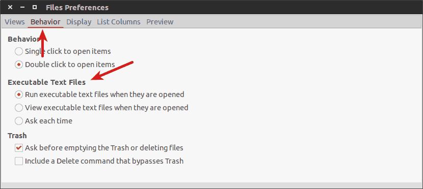 Cambiar el comportamiento de ejecución en archivos