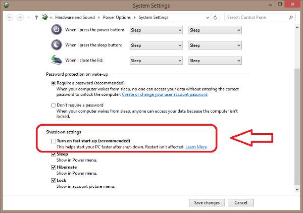 Deshabilitar inicio rápido en Windows 8