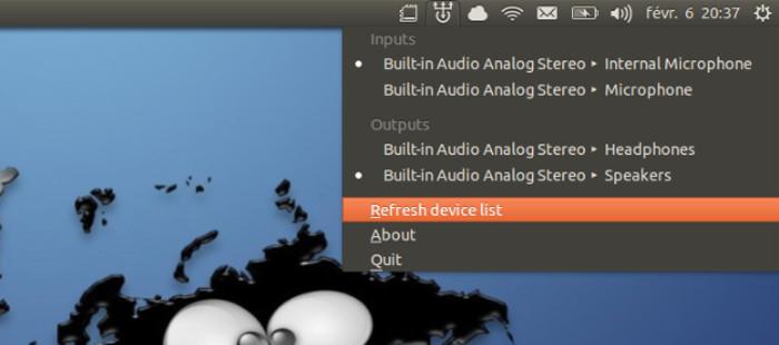 Indicador de conmutador de sonido Ubuntu