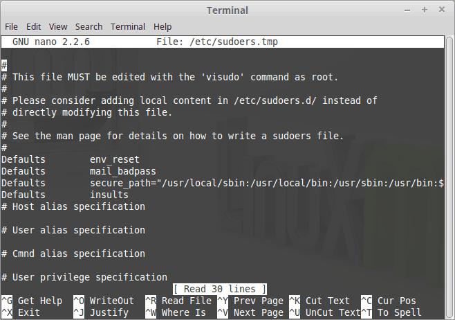 edite el archivo sudoers para insultarlo